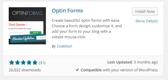 First, I installed the free Optin Forms plugin