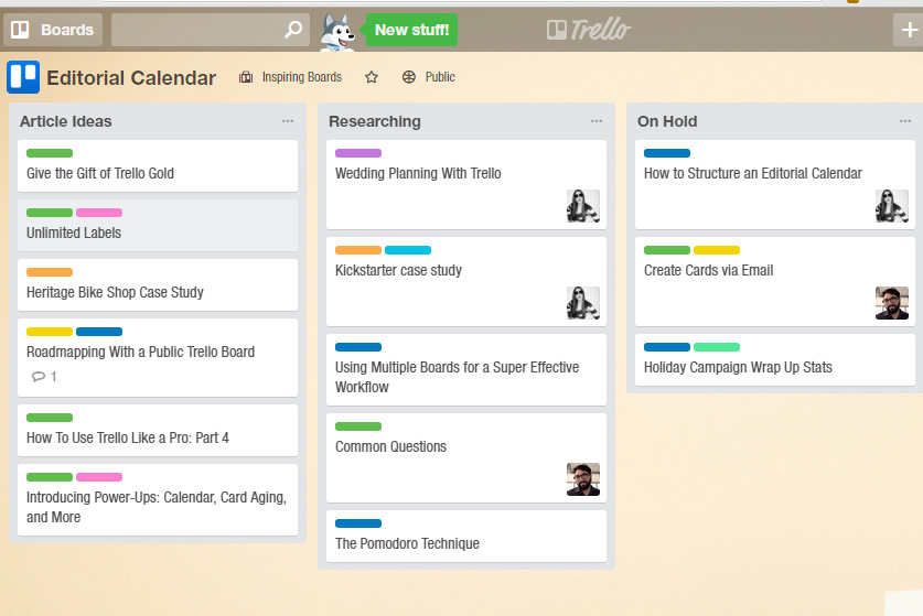 You can use Trello as an editorial calendar too. Link here: http://snip.ly/0vu1i